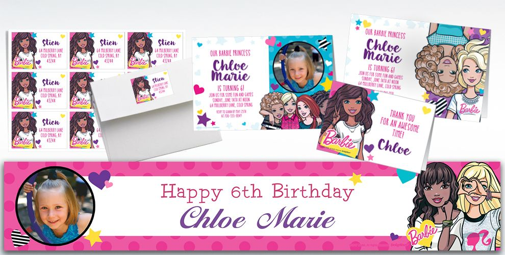Custom Barbie Invitations, Thank You Notes & Banners