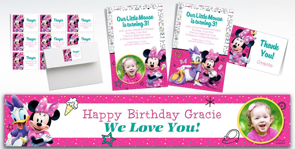 Custom Minnie's Mouse Happy Helpers Invitations, Thank You Notes & Banners