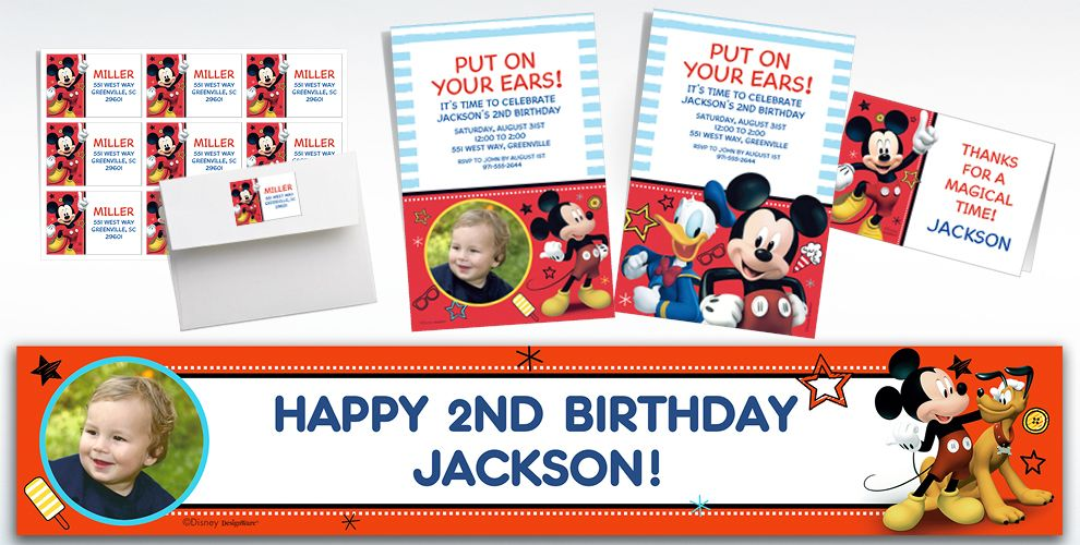 Custom Mickey On The Go Invitations, Thank You Notes & Banners