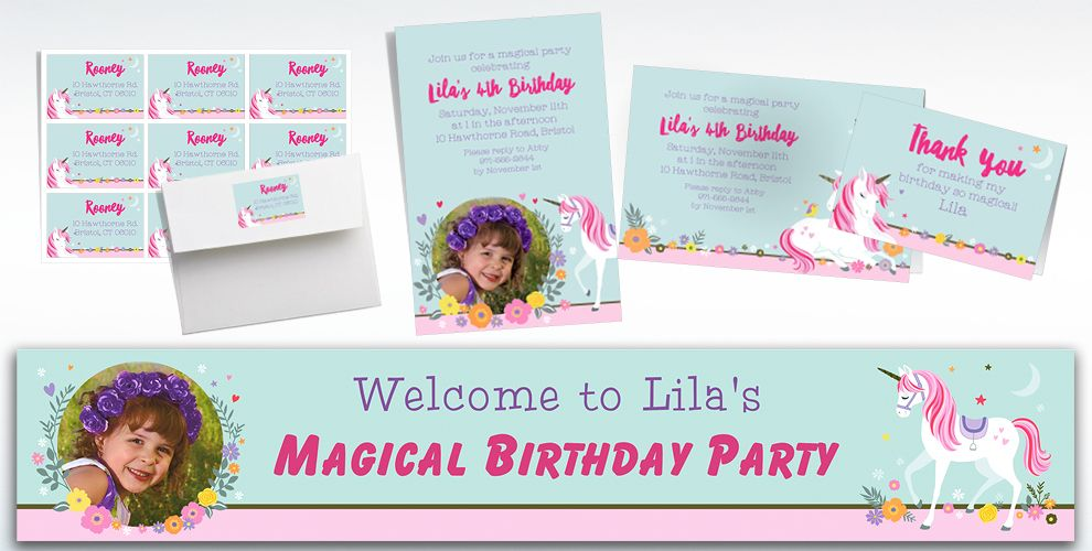 Custom Magical Unicorn Invitations, Thank You Notes & Banners