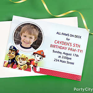 Custom invitations personalized invitations party city paw patrol invitation thank you ideas stopboris Images