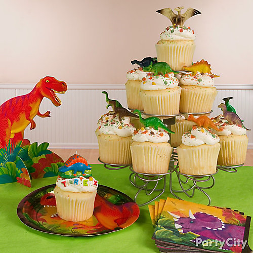Prehistoric Dinosaur Cupcake Tower Idea