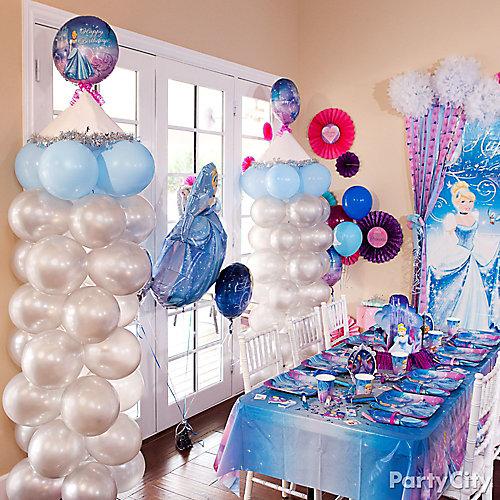 cinderella balloon tower diy decorating ideas cinderella party