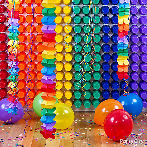 DIY Rainbow Cup Backdrop How To