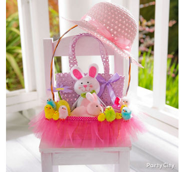 Easter basket idea with pink tulle