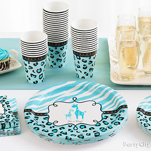 Blue Safari Baby Shower Place Settings Idea