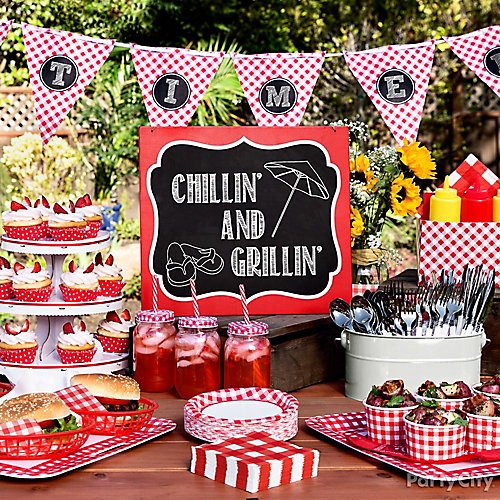 Outdoor bbq buffet table idea gingham picnic food and for What to serve at a bbq birthday party
