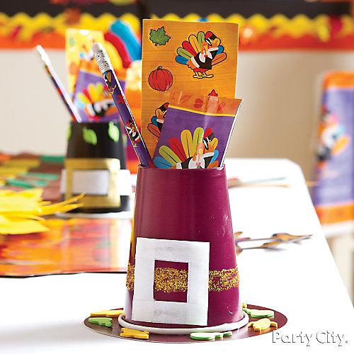 Pilgrim Hat Favor Cups Idea