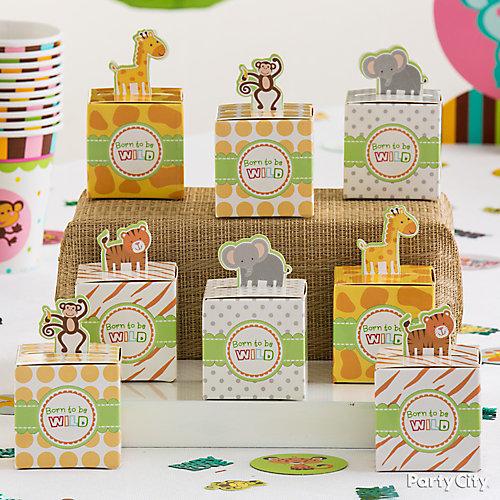 Jungle Animals Favor Box Display Idea