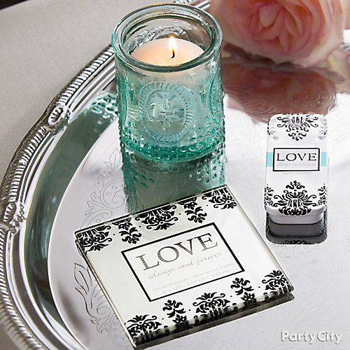 Black and Teal Engagement Favors Idea