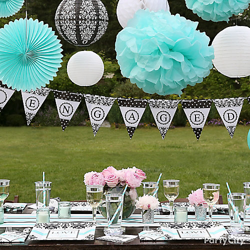 Black and Teal Engagement Decorations Idea