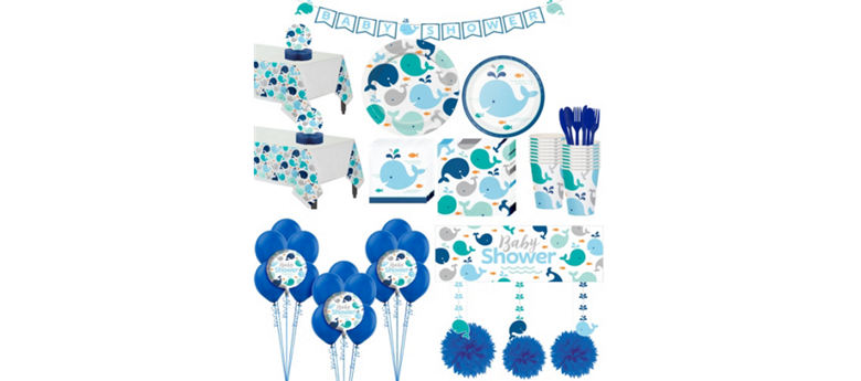 Blue Baby Whale Premium Baby Shower Party Kit for 32 Guests