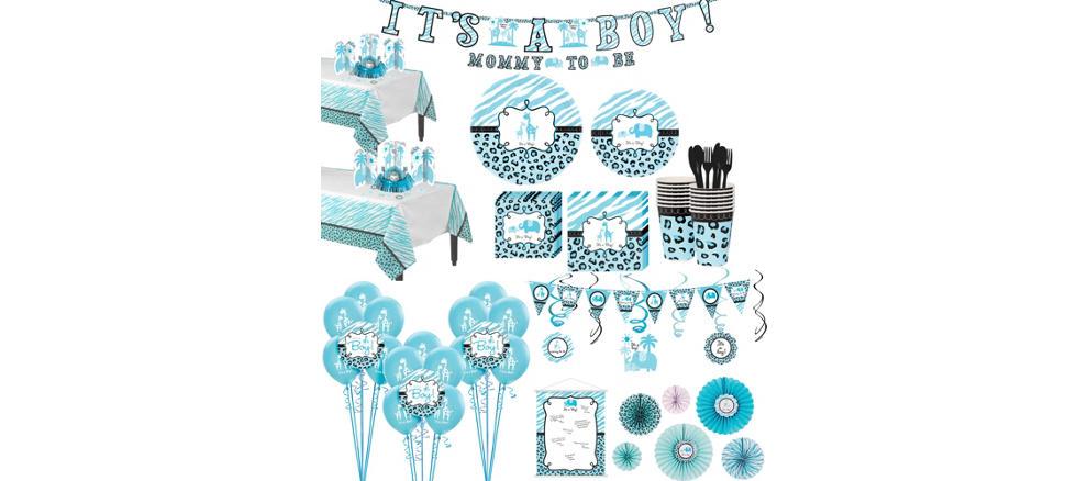 Blue Safari Premium Baby Shower Kit for 36 Guests