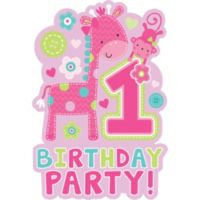Pink glitter 1st birthday photo garland 12ft party city wild at one girls 1st birthday invitations 8ct stopboris Images
