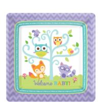 Woodland baby shower invitations 8ct party city woodland baby shower dessert plates 8ct filmwisefo