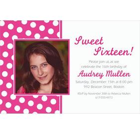 custom bright pink polka dot invitations party city