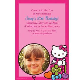 Hello kitty invitations party city custom hello kitty rainbow photo invitations stopboris Choice Image