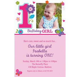 Sweet girl 1st birthday party supplies 1st birthday party custom sweet birthday girl photo invitations stopboris Choice Image
