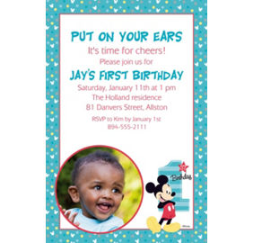 Mickey mouse 1st birthday party supplies party city custom mickeys 1st birthday photo invitation filmwisefo Images