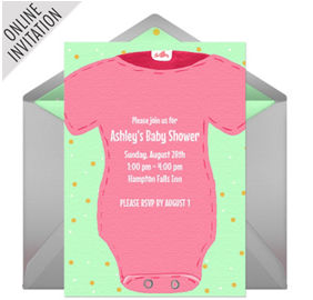 Its a girl baby shower party supplies party city online baby shower snapsuit pink invitations filmwisefo Choice Image
