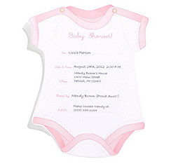 Baby shower invitations printable baby shower invitations party city pink snapsuit baby shower invitations 8ct filmwisefo Image collections