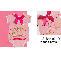 Baby shower invitations printable baby shower invitations party city premium pink snapsuit baby shower invitations 8ct filmwisefo