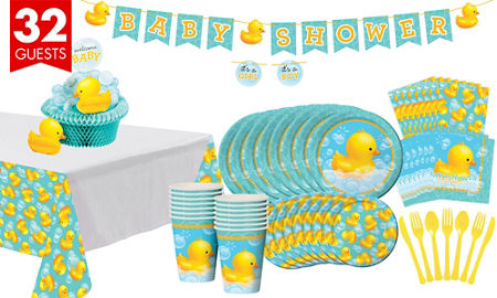 Rubber ducky baby shower supplies party city rubber ducky baby shower tableware kit 32 guests filmwisefo