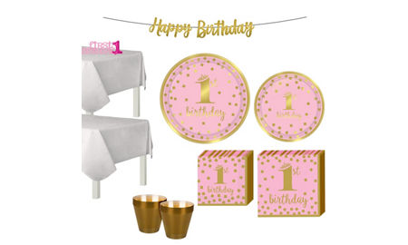 Pink Gold Confetti Premium 1st Birthday Party Kit For 16 Guests