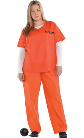 371485cd Adult Orange Prisoner Costume Plus Size | Party City