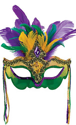 Act like a fool in a Glitter Jester Mardi Gras Masquerade Mask! This Mardi Gras mask features a yellow fabric flower, 2 fabric jester points, and colorful glitter designs.