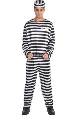 adult jail bird convict prisoner costume