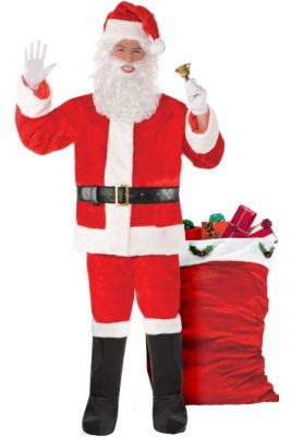 3a83c00e339 Adult Plush Red Santa Suit Costume Kit