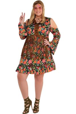 145f24e076a Adult Flower Power Hippie Costume Plus Size