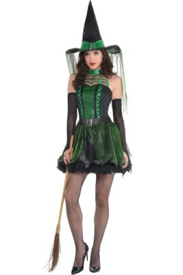 Brand new spooky fancy dress witch hat green witch hat with spider and web patt