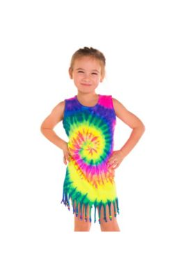 9a9ca6dfbace Child Rainbow Tie Dye Fringe Dress
