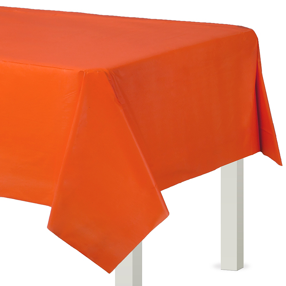 Orange Plastic Table Cover 54in X 108in Party City
