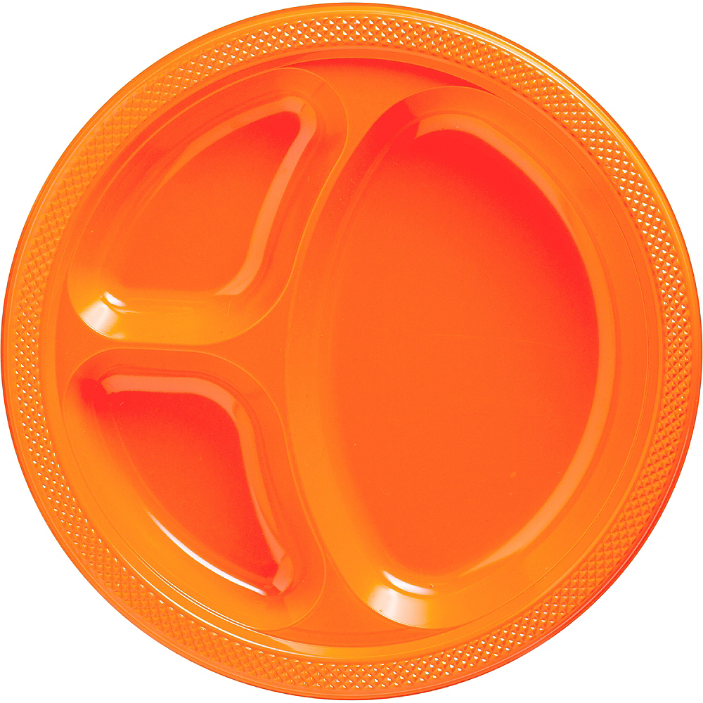 Orange Plastic Divided Dinner Plates 20ct Image #1