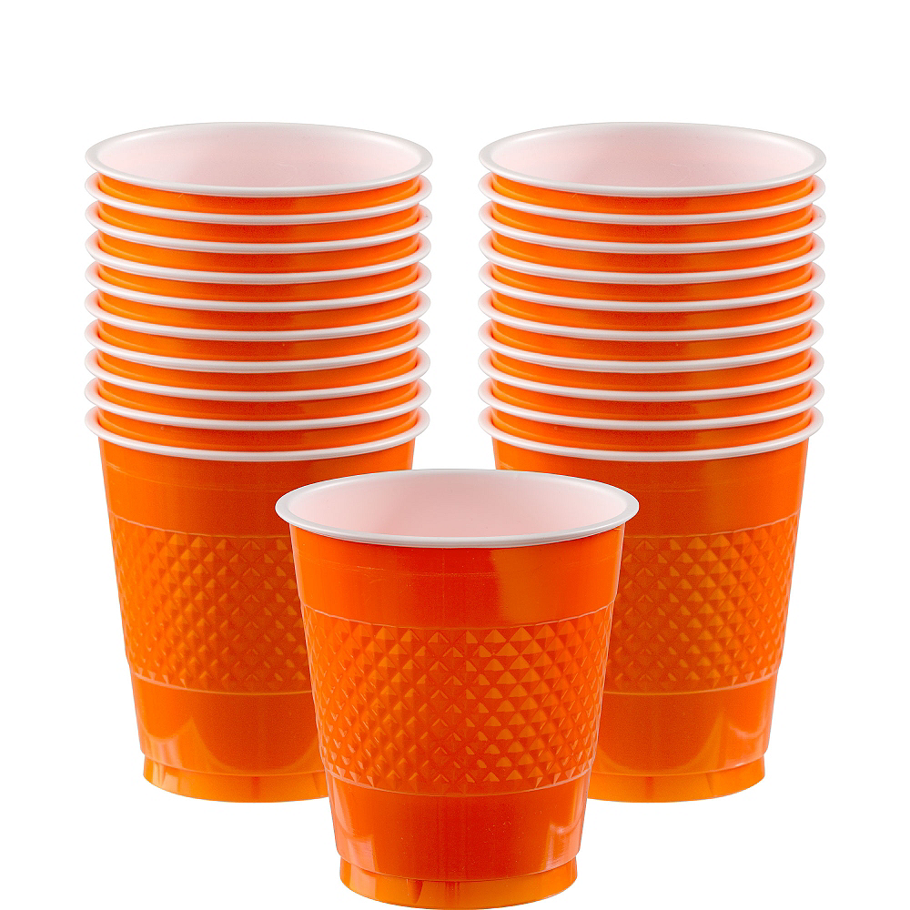Orange Plastic Cups 20ct Image #1