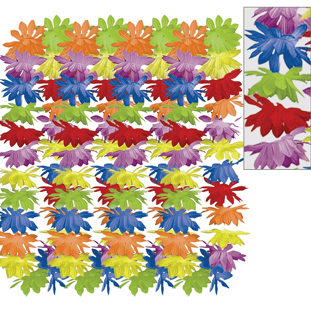 Rainbow Floral Leis 25ct Image #1