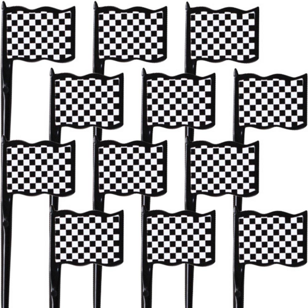 Black & White Checkered Flag Picks 12ct Image #1