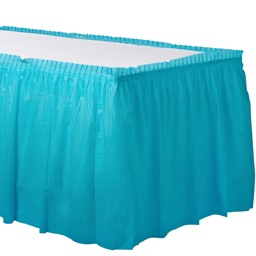 Caribbean Blue Plastic Table Skirt Image #1