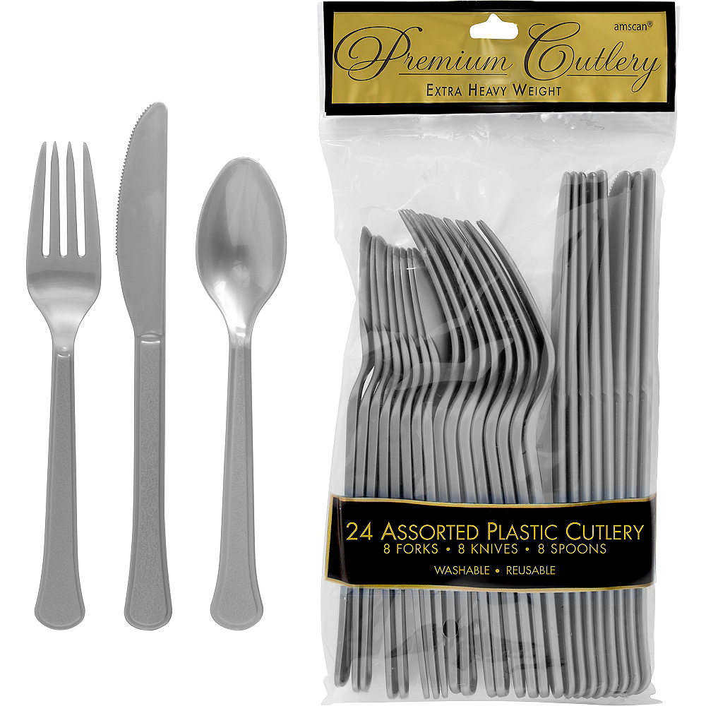Nav Item for Silver Premium Plastic Cutlery Set 24ct Image #1