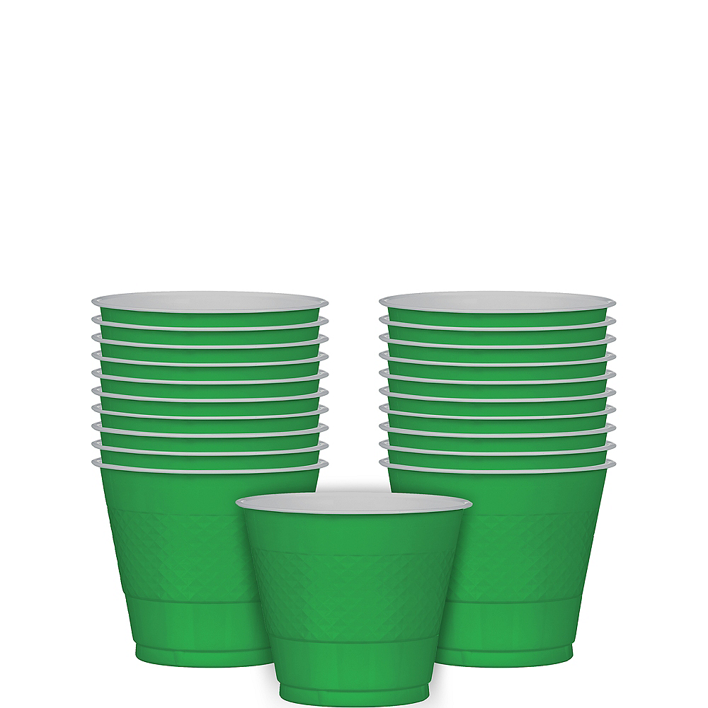 Festive Green Plastic Cups 20ct Image #1