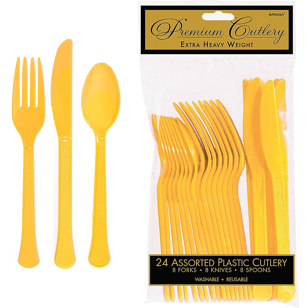 Sunshine Yellow Premium Plastic Cutlery Set 24ct Image #1
