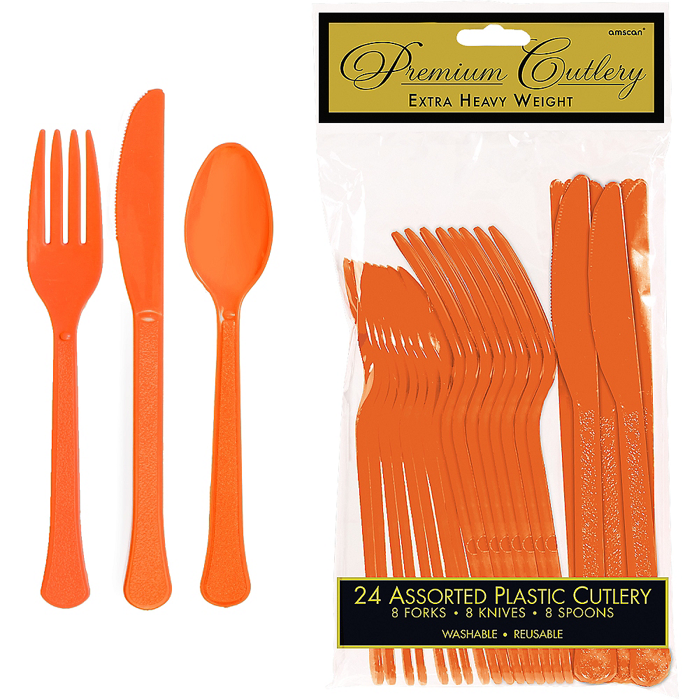Orange Premium Plastic Cutlery Set 24ct Image #1