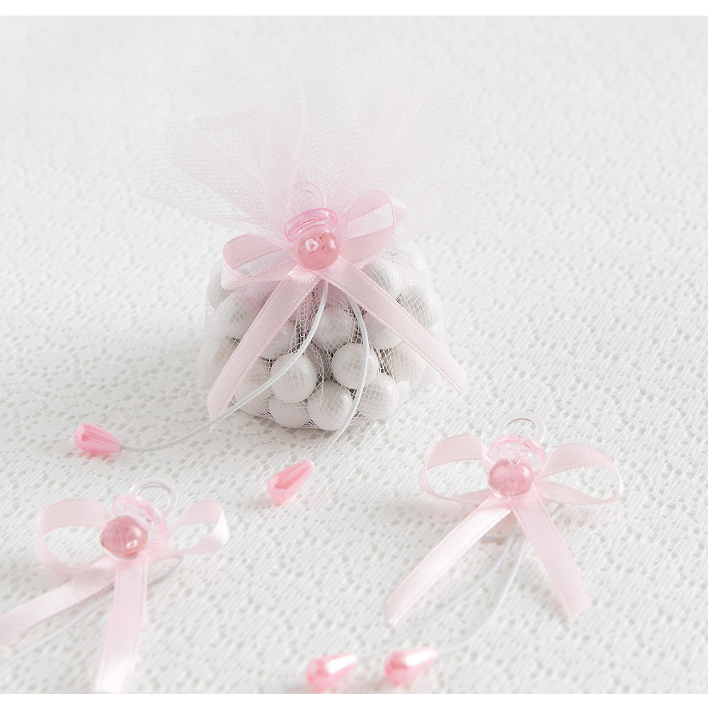 Pink Pacifier Baby Shower Favor Ties 6ct Image #1
