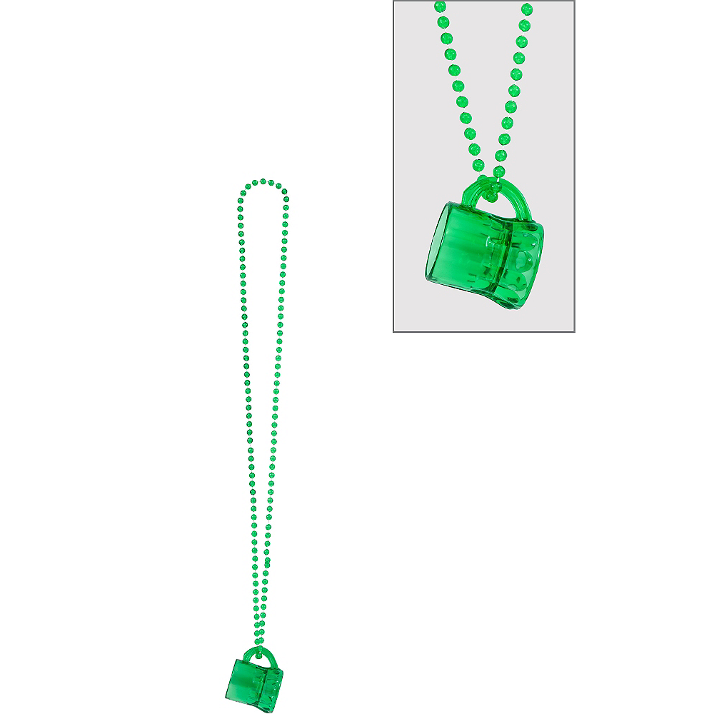 St. Patrick's Day Beer Mug Bead Necklace Image #1