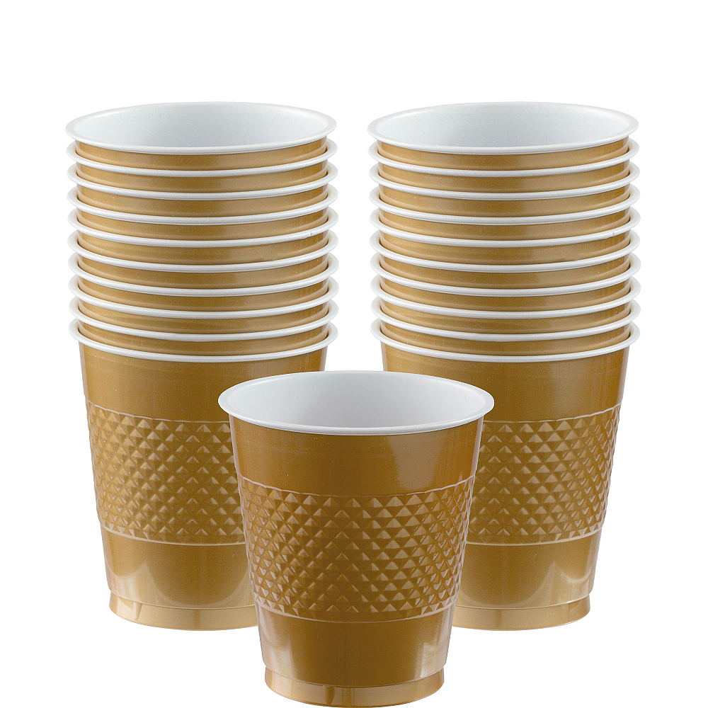 Gold Plastic Cups 20ct Image #1