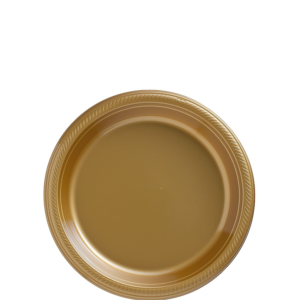 Gold Plastic Dessert Plates 20ct Image #1