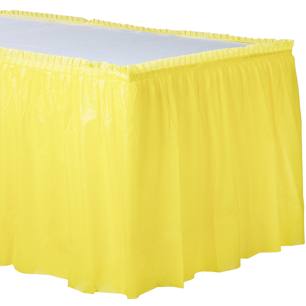 Light Yellow Plastic Table Skirt 168in X 29in Party City